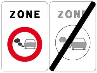 Boetecalculator waarschuwt om dit verkeersbord lage-emissiezone te respecteren om verkeersboetes te vermijden